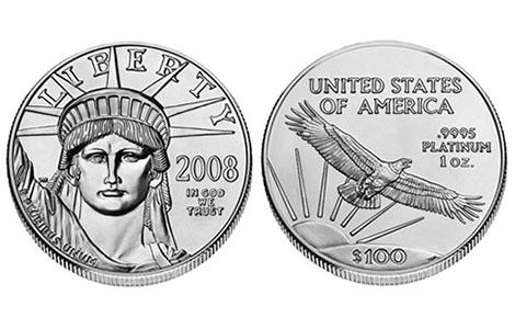 Đồng xu platinum mệnh giá 100 USD của Mỹ