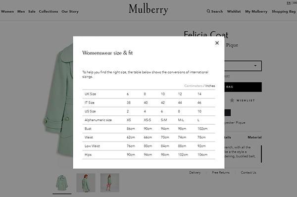 Ảnh chụp màn hình về cách Mulberry sử dụng cửa sổ bật lên để thêm mô tả và chi tiết sản phẩm để tiết kiệm thời gian cuộn