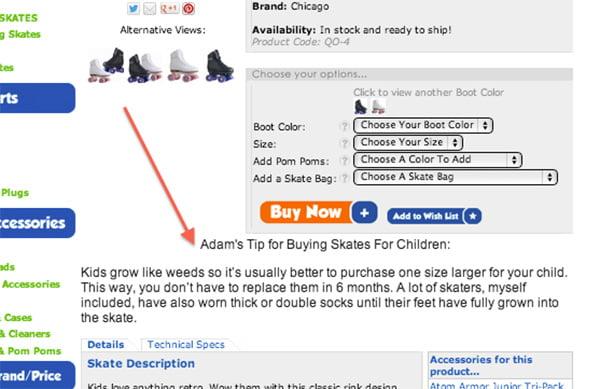 Ảnh chụp màn hình về cách RollerskateNation thêm pro-tip vào trang để tăng doanh số