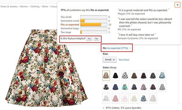 Ảnh chụp màn hình ví dụ về hiển thị tùy chọn kích thước từ người mua cho sản phẩm