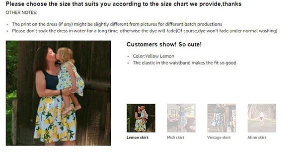 Ảnh chụp màn hình ví dụ về việc thêm hình ảnh của khách hàng thực để khuyến khích người mua mua hàng